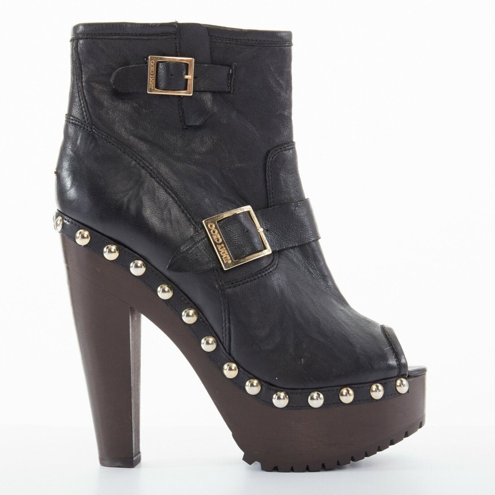 New JIMMY CHOO black leather peep toe wooden platform buckled ankle boots EU39