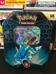 POKEMON-TCG-GYARADOS-GX-GYARADOS-GX-HIDDEN-FATES-TIN-NEW-amp-SEALED