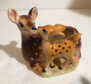 Vintage MCM Deer Doe Planter Mother & Baby Fawn Japan