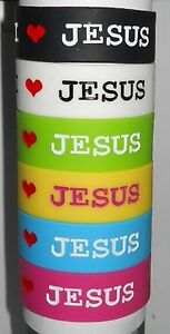 One-I-Love-Jesus-Silicone-Wristband-1-034-Wide-6-Colors-New