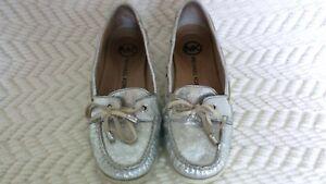 Michael-Kors-Blair-Metallic-Silver-Leather-Boat-Mocs-Loafers-Women-039-s-Size-6-5-M