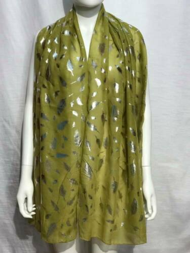 Ladies Scarf Silver Foil Fern Leaves Leaf Metallic soft feel NEW Grey Pink Coral