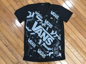 Vans-Men-s-Black-Gray-V-Neck-Logo-T-shirts-Tee-Size-S