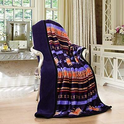 Southwestern Navajo Print Silk Touch Sherpa Lined Native American Throw Red
