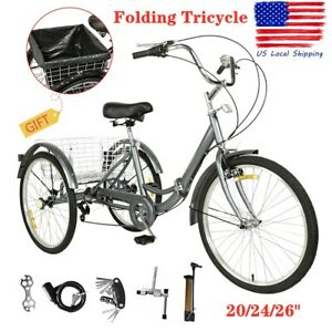 "20/24/26"" Foldable Adult 7-Speed Tricycle 3 Wheels Trike Bicycle W/ Large Basket"