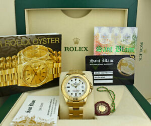 ROLEX-Mens-18kt-Yellow-Gold-YachtMaster-White-amp-Black-Index-16628-SANT-BLANC