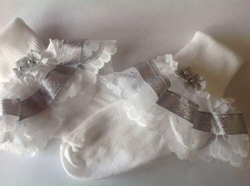 Handmade Silver bead bows baby// girls frilly socks various sizes
