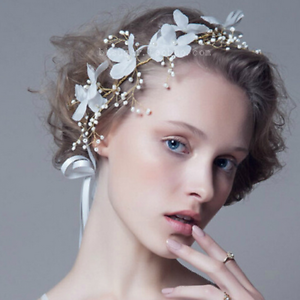 Women-Bridal-Wedding-Party-Crown-Hair-Band-White-Butterfly-Flower-Pearl-Headband