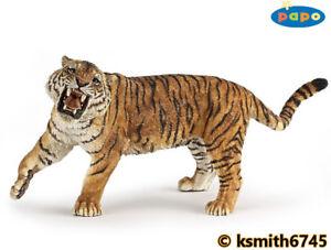 Papo-ROARING-TIGER-solid-plastic-toy-figure-wild-zoo-animal-cat-NEW