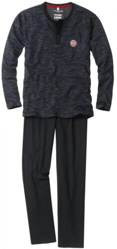 Tom Tailor Pigiama Uomo Girocollo Bottoni Serafino SONNO TUTA Sleepwear BLACK