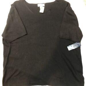 Rena-Rowan-3X-Solid-Knit-Short-Sleeved-Black-NWT