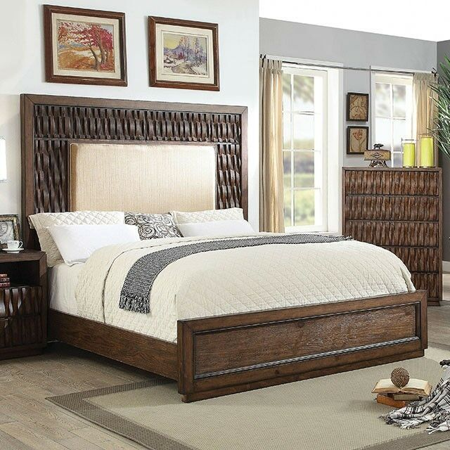 California King Size Bed Padded Headboard Wood Inlay ...