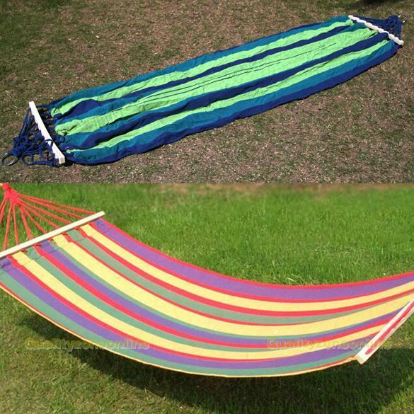 Canvas Fabric Double Spreader Bar Hammock Outdoor Camping Swing Hanging Bed