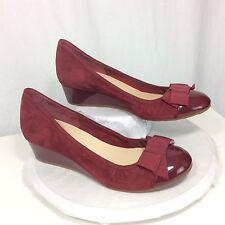 Cole Haan Women's 9 M Burgundy Suede Patent Nike Air Tali Wedge Heels Pumps New