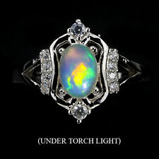 Sterling Silver 925 Genuine Natural Opal with Fire Lustre Ring Sz P1/2 (US 8)