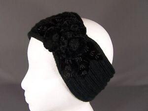 Twist Black and White Crochet Earwarmer Headband Velvet
