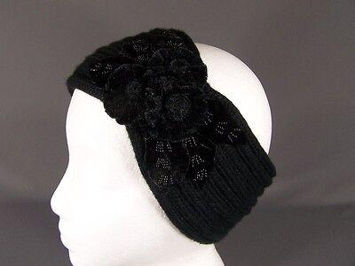 Black velvet flowers turban style crochet ear warmer muff head band wrap knit
