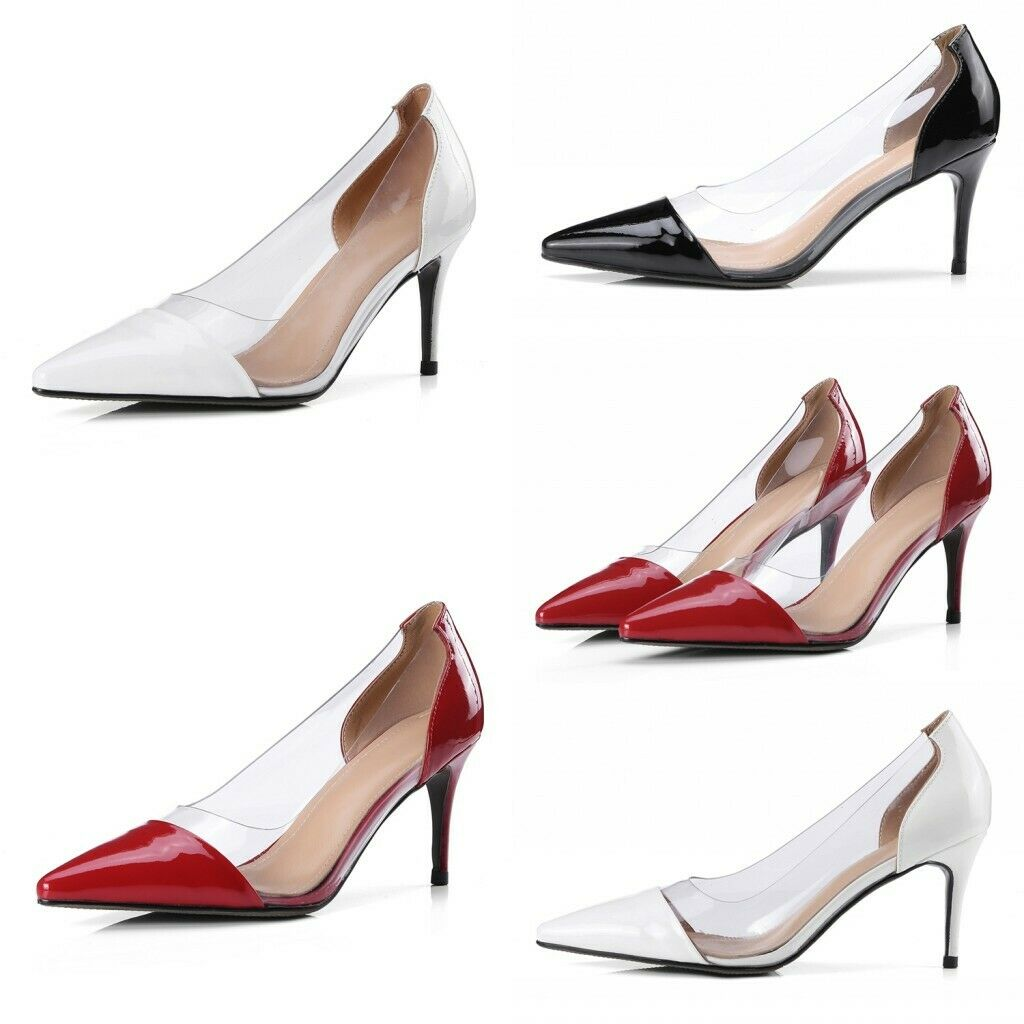 Ladies Clear High Heels Sexy Party Pumps Womens Perspex Kitten Heels Court shoes