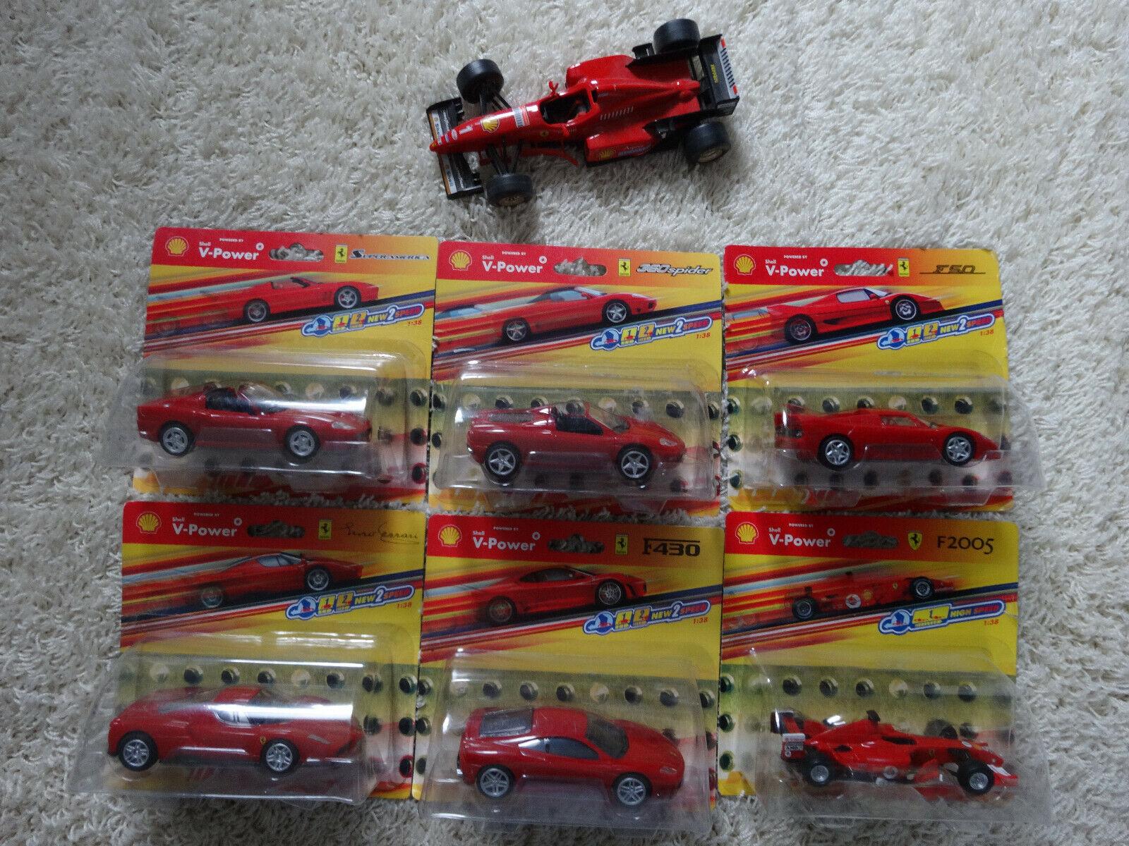 6 modellini di auto FERRARI SHELL V-Power 1 38 +1 MODELLO BURAGO F 310 - 1 24 + 1 LIBRO