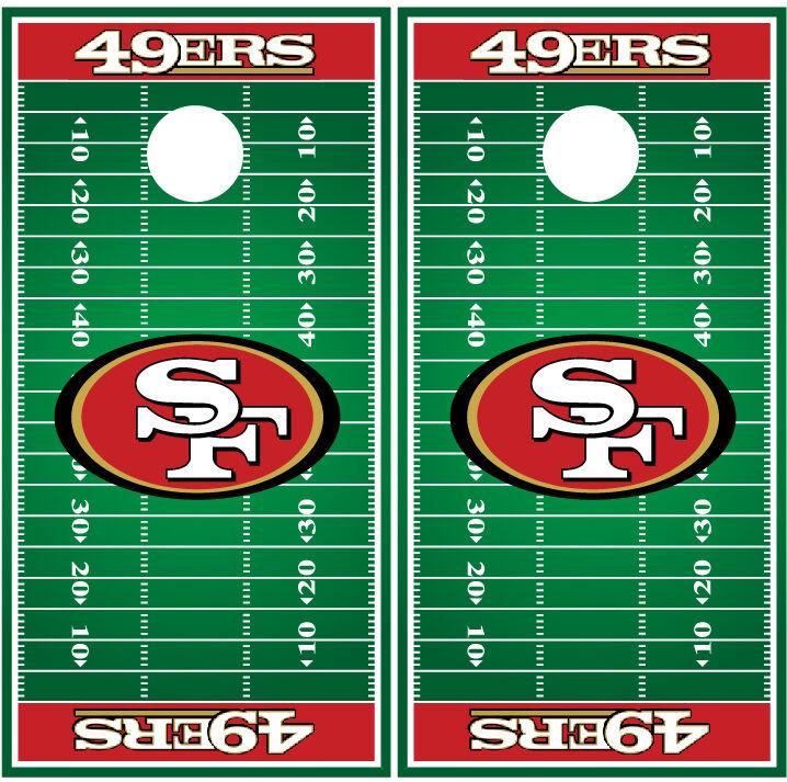 San Francisco 49ers Football Field Cornhole  Board Decal Wrap Wraps  best-selling