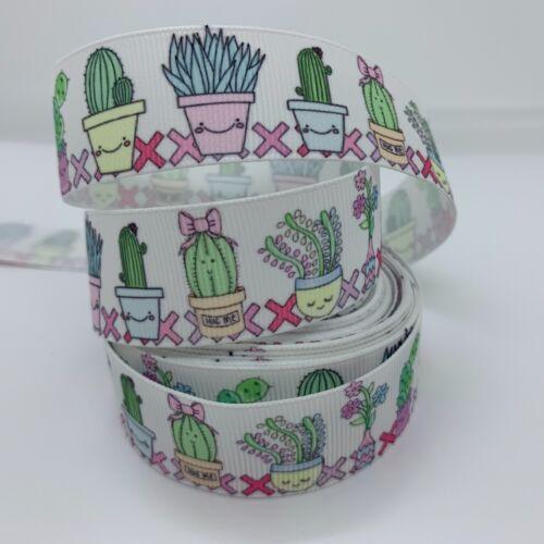 """Grosgrain Cactus planta en olla Floral Flor Cinta 1/"""" 25mm"""