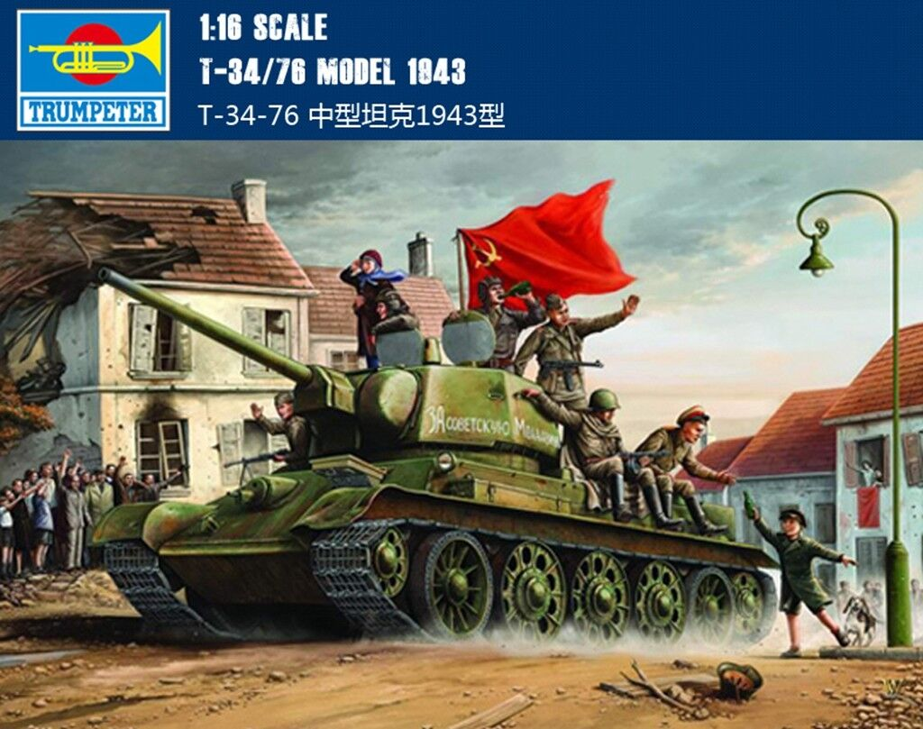 00903 Trumpeter blindado Coche 1 16 T-34 76 Modelo 1943 Soviet Russian tanque de la segunda guerra mundial