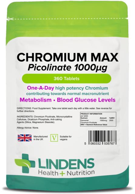 Chrom Max 1000mcg (360 Tabletten) One A Day, Gewichtsverlust [Lindens 5767]