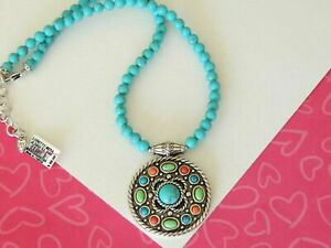 Brighton-Loretto-Indie-Turquoise-Boho-Reversible-Pendant-Necklace-new-tags-98