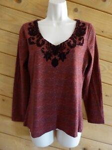 Soft-Surroundings-Size-S-Brown-Velvet-Floral-V-neck-Long-Sleeve-Tunic-Shirt-Top