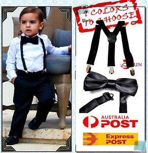 BOYS Girl KIDS GREY Braces Elastic Suspenders Bowtie PINK Bow Tie 1-8 Years Old