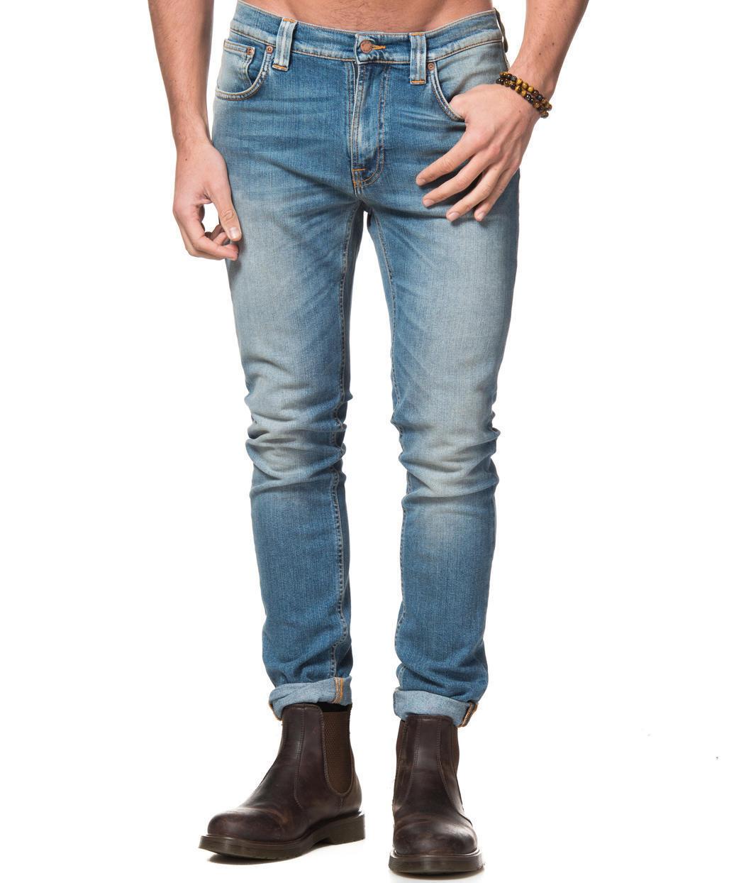 W30 L34 30 34 Nudie jeans Lean Dean Natural Fade slim tapered fit skinny bluee