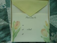 NEW Box of  10 Crane Pink & Yellow Tulip  5X7 Invitation Cards & Envelopes