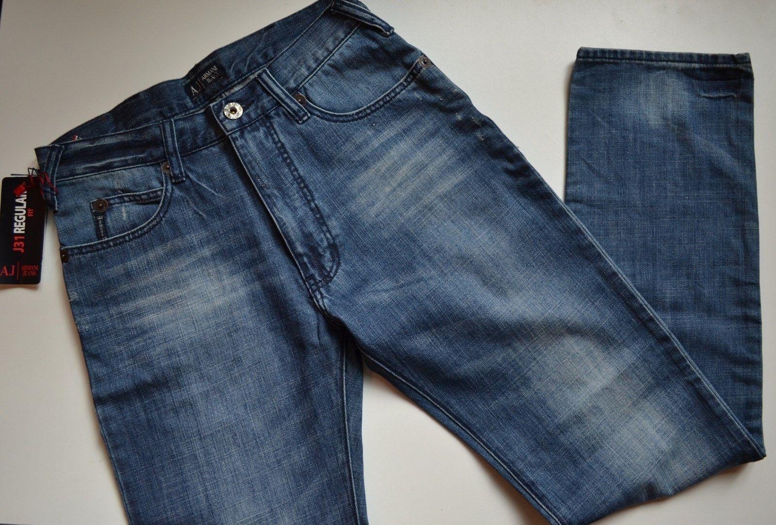 NWT Armani Jeans J31 Regular Fit Distressed Stonewash Jeans 30W 33.5L