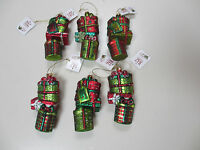 Raz Imports Lot Of 6 Stacked Presents Christmas Ornaments Glass - With Tags