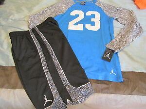 e66000deee86 NEW 2Pc NIKE Air Jordan Boys Basketball OUTFIT Shorts+l s YXL ...