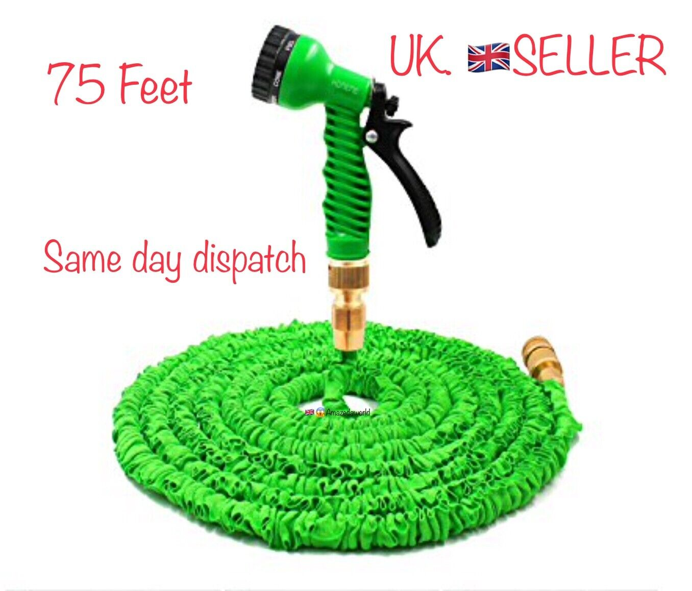 Brand new 75ft heavy duty metal fitting tangle free Magic hose with spray gun