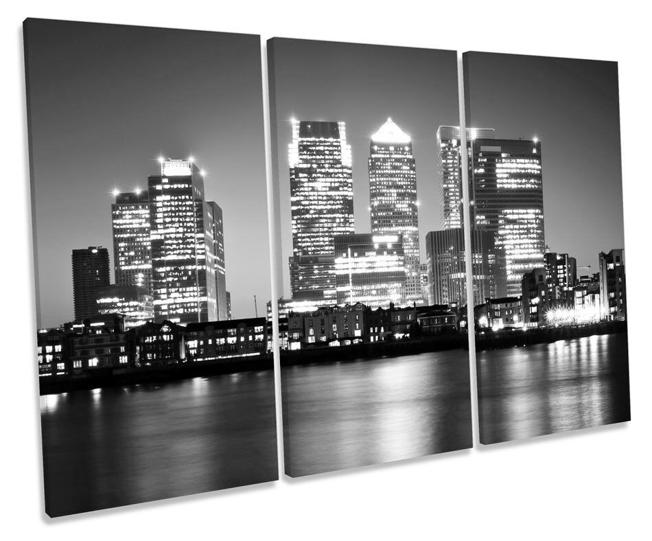 London Canary Wharf City B&W TREBLE CANVAS WALL ART Box Framed Print