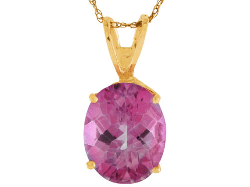 Details about  /10k or 14k Yellow Gold Genuine Pink Topaz Dazzling Ladies Floating Pendant