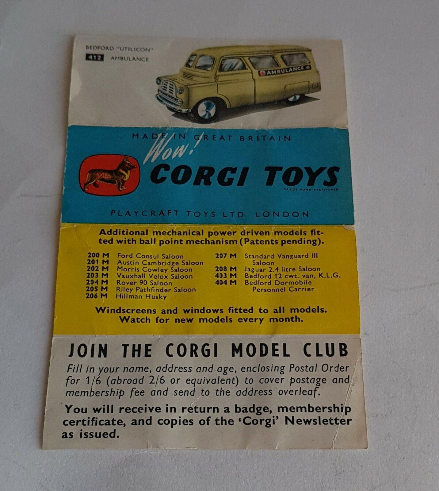 Rare Corgi Concertina Leaflet   Catalogue Dated 1956, No. 50 1057 K4 - Superb