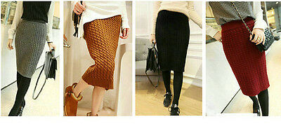 Winter Warmer Womens Cable Chunky Knitted Bodycon Midi Skirt