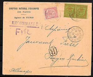 Tunesia covers 1904 R-cover Tunis to Prag/Karolinenthal