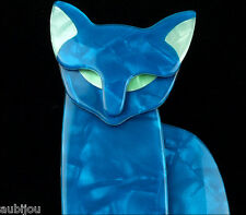LEA STEIN LARGE FIGURAL BLUE QUARRELSOME EGYPTIAN CAT KITTEN BROOCH PIN PARIS