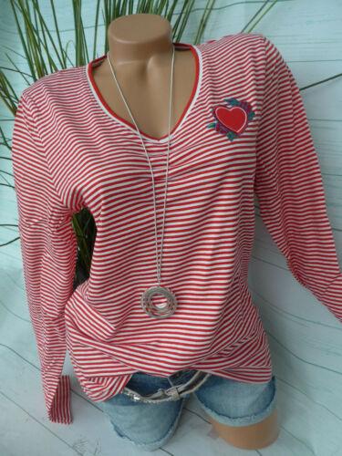 Cheer Shirt Tunika Damen Gr 902 Neu 36 bis 46 gestreift rot weiß