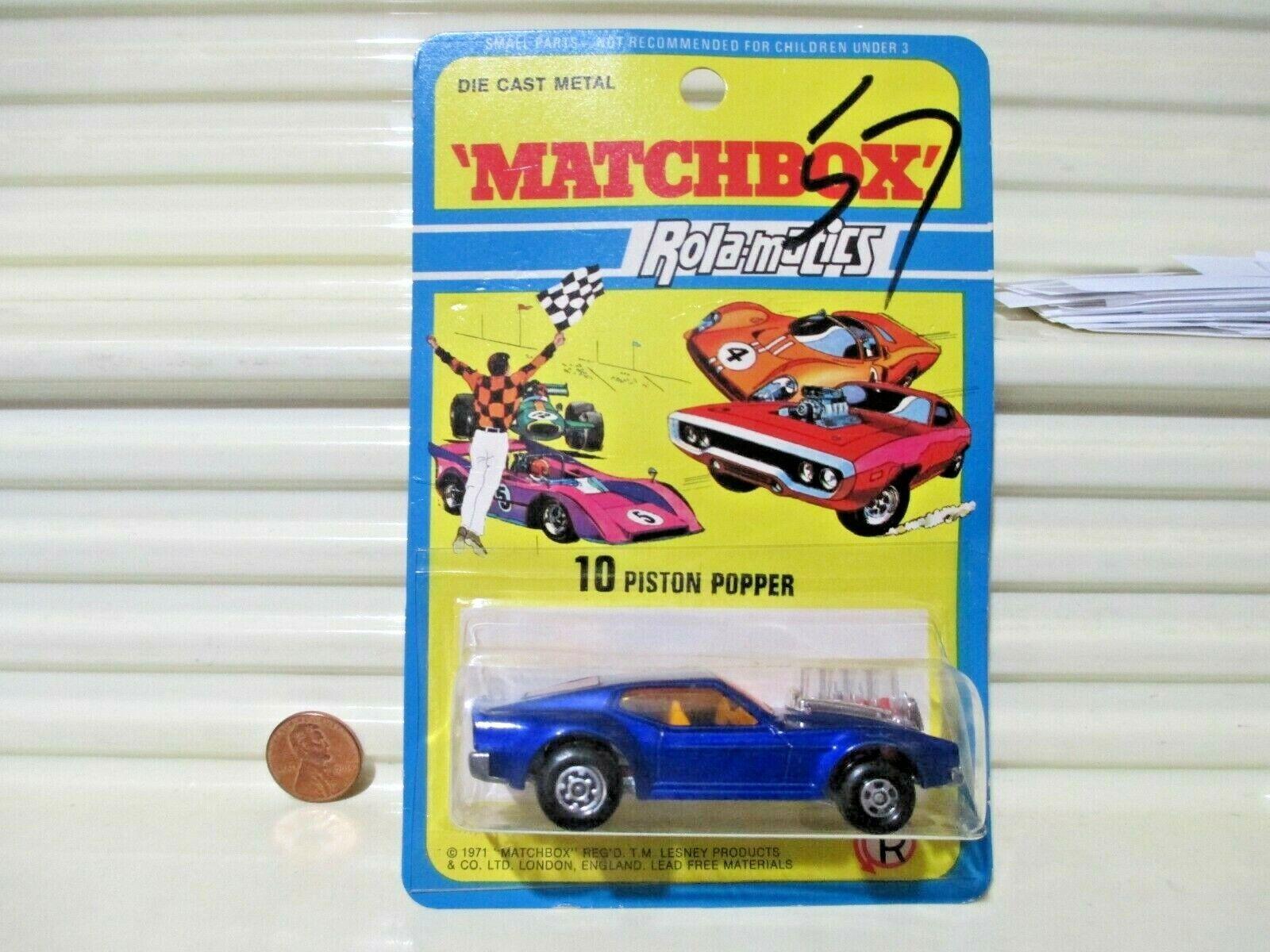 1973 Lesney Matchbox Superfast MB10B Blau MUSTANG PISTON POPPER Mint in BubblePk
