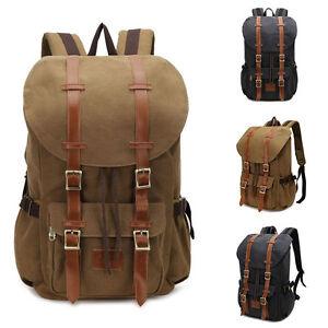 Vintage-Men-039-s-Military-Canvas-Leather-Travel-Backpack-Hiking-Rucksack-School-Bag