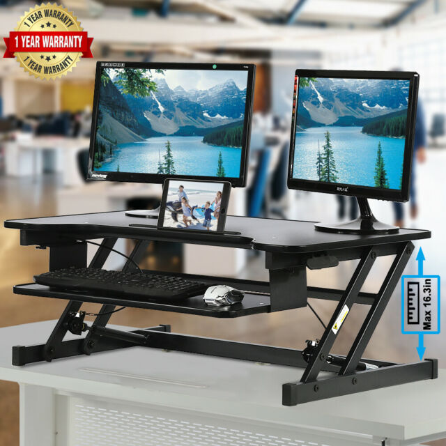 Tabletop Monitor Standing Desk Adjustable Height Sit to Stand Workstation w//Tray