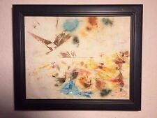 "Vintage Abstract on Linen, ""Birds"" Charles Bunnell (1897-1968) WPA, Listed"