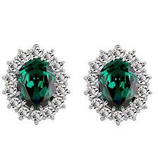 Lusso argento e verde smeraldo ZIRCONE QUEEN Design Orecchini E853