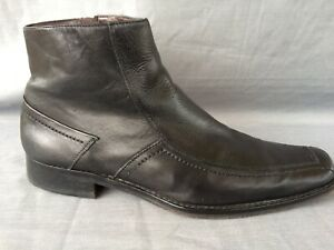 ALDO Black Leather Side Zip Ankle Boots