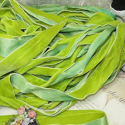 """1y 5//8/"""" HUNTER GREEN OMBRE VELVET RIBBON HAND DYED HAT FLOWER TRIM FRENCH BOHO"""